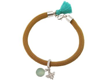 Gemshine - Damen - Armband - 925 Silber - Edelstein - Aqua Chalcedon - BEE - Biene - Grün - Braun