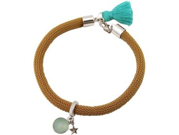 Gemshine - Damen - Armband - 925 Silber - Edelstein - Aqua Chalcedon - STAR - Stern - Grün - Braun