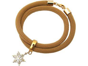 Gemshine - Damen - Armband - Wickelarmband - 925 Silber - Vergoldet - Schneeflocke - Braun