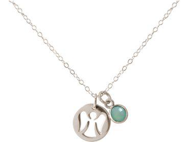 Gemshine - Damen - Halskette - Anhänger - Engel - Schutzengel - 925 Silber - Chalcedon - Grün - Meeresgrün - 1,3 cm