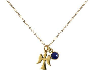Gemshine - Damen - Halskette - Anhänger - Engel - Schutzengel - 925 Silber - Vergoldet - Saphir - Blau - 1,3 cm