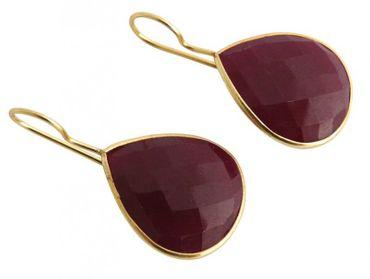 Gemshine - Damen - Ohrringe - 925 Silber - Vergoldet - Rubin - Rot - CANDY - Tropfen - 3,5 cm