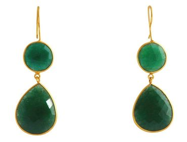 Gemshine - Damen - Ohrringe - 925 Silber - Vergoldet - Smaragd - Grün - CANDY - Tropfen - 6 cm