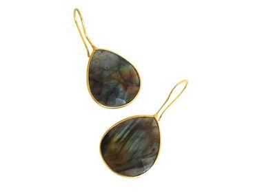 Gemshine - Damen - Ohrringe - 925 Silber - Vergoldet - Labradorit - Grau - CANDY - Tropfen - 3,5 cm