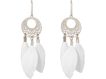 Gemshine - Ohrringe - Traumfänger - Silber - Boho - Weiß - Feder - 7 cm