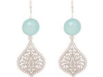 GEMSHINE Ladies dangling Earrings with Mandalas and Chalcedony gemstones. Sterling silver, 18k gold plated or rose. Made in Madrid / Spain. Bild 3