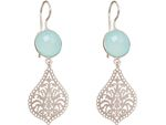 GEMSHINE Ladies dangling Earrings with Mandalas and Chalcedony gemstones. Sterling silver, 18k gold plated or rose. Made in Madrid / Spain. Bild 6