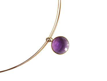 Gemshine - Damen - Halskette - 925 Silber - Vergoldet - Amethyst - Violett - CANDY - 45 cm