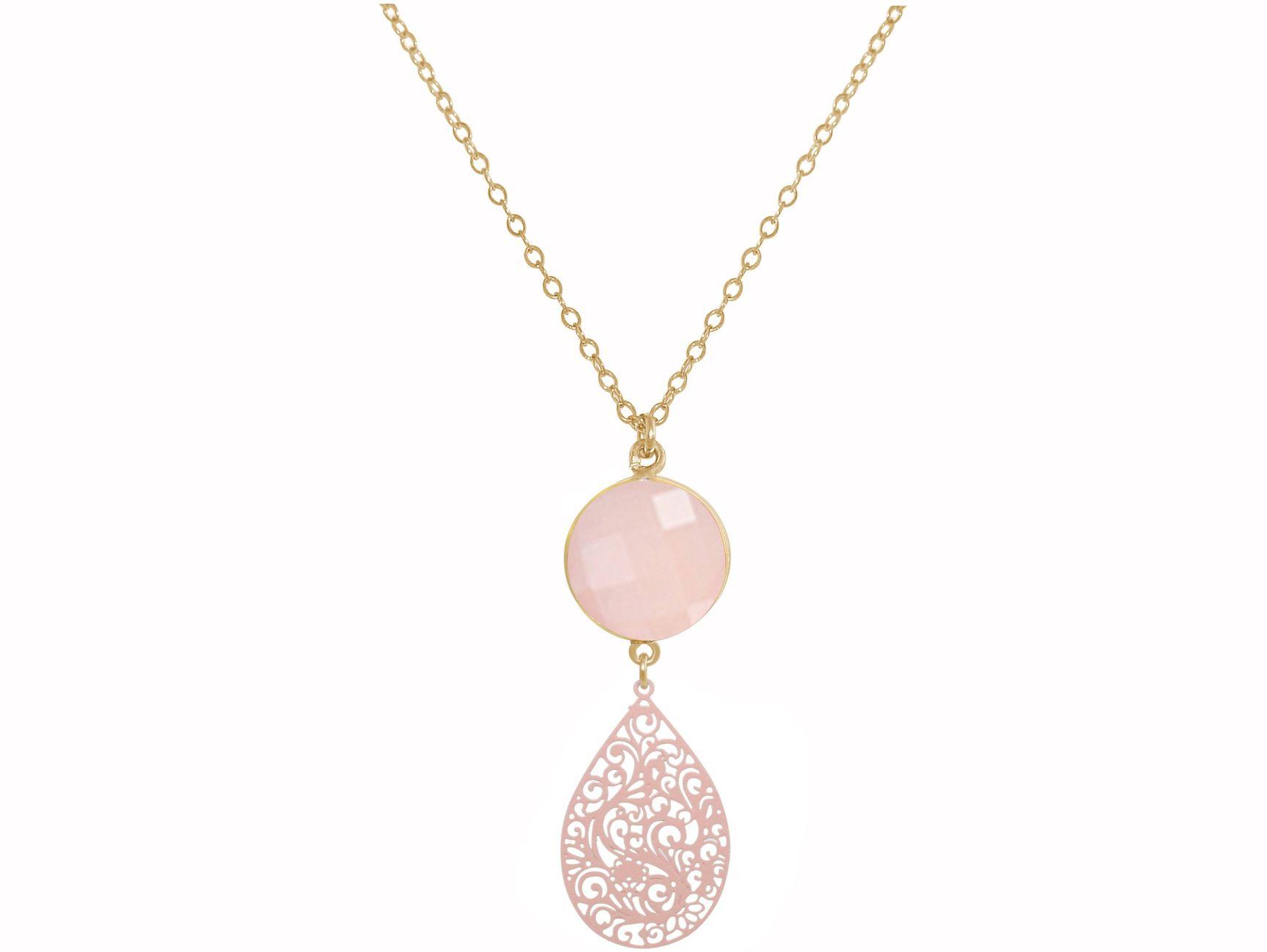 collier or et quartz rose