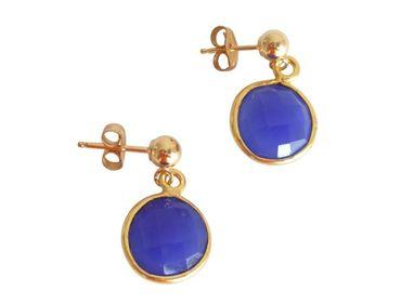 Gemshine - Damen - Ohrringe - 925 Silber - Vergoldet - Onyx - Blau - CANDY - 2 cm