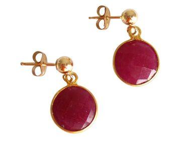Gemshine - Damen - Ohrringe - 925 Silber - Vergoldet - Rubin - Rot - CANDY - 2 cm