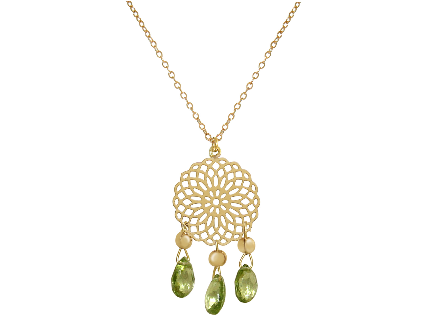 04a308a5a GEMSHINE Ladies necklace with Mandala and Peridot gemstones. Chandelier  pendant in Sterling silver, 18k gold plated or rose on a 60 cm chain.