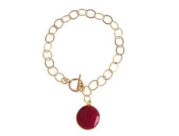 Gemshine - Damen - Armband - Vergoldet - Rubin - Rot - CANDY