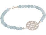 GEMSHINE Damenarmband: Yoga Mandala und blaue Aquamarin Edelsteine. Silber, vergoldet oder rose vergoldet. Made in München / Deutschland. Im eleganten Etui mit Geschenkverpackung geliefert. Bild 5