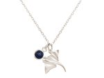 GEMSHINE Maritime Nautics Necklace with Manta Stingray in Sterling Silver, 18k gold plated or rose in Navy Style with blue Sapphire - Made in Madrid, Spain