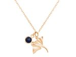 GEMSHINE Maritime Nautics Necklace with Manta Stingray in Sterling Silver, 18k gold plated or rose in Navy Style with blue Sapphire - Made in Madrid, Spain Bild 2