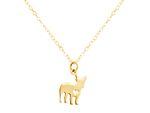 GEMSHINE Halskette Mops Hund Anhänger. Massiv 925 Silber, vergoldet oder rose an 45cm Kette. Geschenk für Haustier Herrchen, Frauchen – Made in Spain