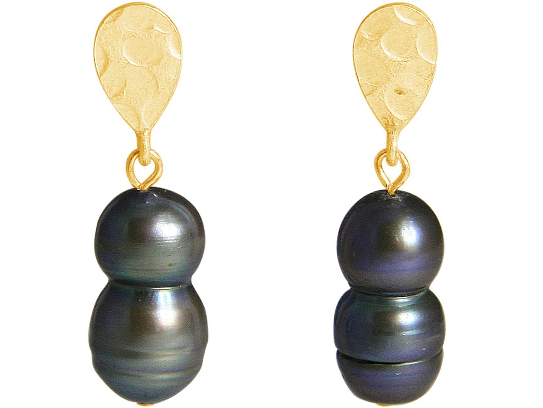 65b1946169a0 GEMSHINE Pendientes Plata de Ley en Plata de Ley o chapada en oro de 18k.  Perlas cultivadas barrocas Gris Tahiti. Joya hecha en Alemania