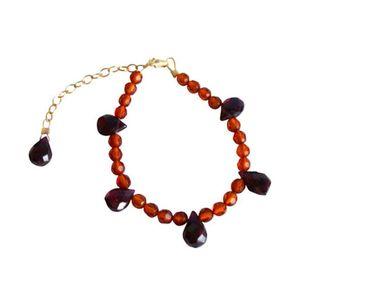 Gemshine - Damen - Armband - Bernstein - Granat - Vergoldet - Orange - Gelb - Rot - Gold