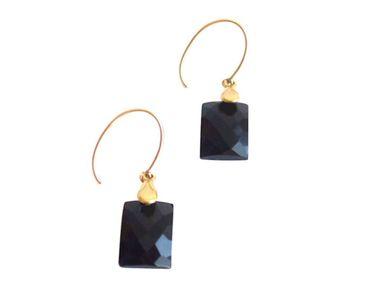 Gemshine - Damen - Ohrringe - Vergoldet - Onyx - Schwarz - 2 cm