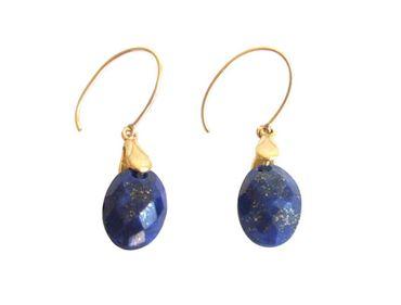 Gemshine - Damen - Ohrringe - Vergoldet - Lapis Lazuli - Blau - 2 cm