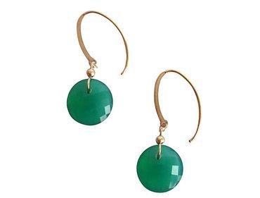 Gemshine - Damen - Ohrringe - Vergoldet - Onyx - Grün - Facettiert - 2 cm