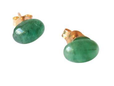 Gemshine - Damen - Ohrringe - Vergoldet - Smaragd - Grün - Cabochon