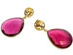 Gemshine Damen Ohrringe rosa pink rote Quarz Edelstein Tropfen. 925 Silber oder hochwertig vergoldete Ohrhänger. Nachhaltiger, qualitätsvoller Schmuck Made in Spain Bild 4