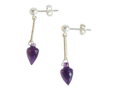 Gemshine - Damen - Ohrringe - 925 Silber - Amethyst - Tropfen - Facettiert - Violett - 3 cm