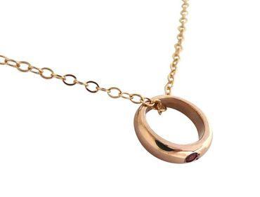 Gemshine - Damen - Kind - Halskette - Taufring - 925 Silber - Rose Vergoldet - Rubin - Rot - Brillant - 45 cm