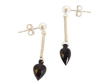 Gemshine - Damen - Ohrringe - 925 Silber - Granat - Tropfen - Facettiert - Schwarz - 3 cm