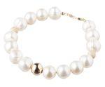 Gemshine Armband Perlenarmband mit 9,5 mm Zuchtperlen und 925 Silber oder vergoldete Perlen - Made in Germany