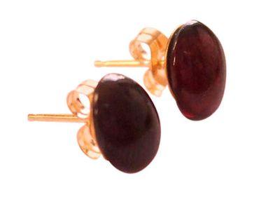 Gemshine - Damen - Ohrringe - Vergoldet - Granat - Rot - Dunkelrot - Cabochon - 8 mm