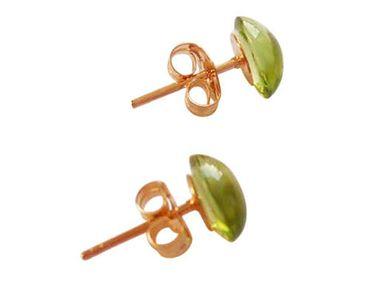 Gemshine - Damen - Ohrringe - Vergoldet - Peridot - Grün - Cabochon - 7 mm