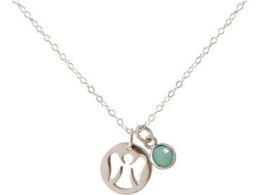 Gemshine - Damen - Halskette - Anhänger - Engel - Schutzengel - 925 Silber oder Vergoldet - Meeresgrüner Chalcedon - 1,3 cm