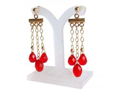 Gemshine - Damen - Chandelier - Ohrringe - Vergoldet - Jade - Rot - Tropfen - 4 cm