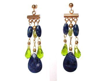 Gemshine - Damen - Chandelier - Ohrringe - Vergoldet - Lapis Lazuli - Blau - Peridot - Grün - Tropfen - 4 cm