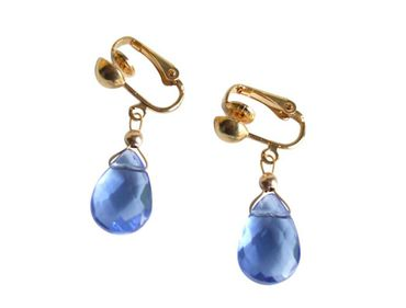 Gemshine - Damen - Ohrringe  - Ohrclips - Vergoldet - Topas - Quarz - Tropfen - Facettiert - Blau - 2 cm