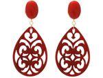 Gemshine Ohrringe mit roten Jade Edelstein Cabochons und Schildpatt Harz Tropfen, 925 Silber hochwertig vergoldet. Nachhaltig - Qualitätsvoll - Made in Spain