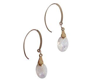 Gemshine - Damen - Ohrringe - Vergoldet - Mondstein - Facettiert - Weiß - 2 cm
