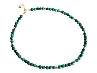 Gemshine - Damen - Halskette - Vergoldet - Malachit - Facettiert - Grün - 45 cm