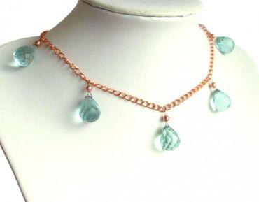 Gemshine - Damen - Halskette - Rose Vergoldet - Quarz - Facettiert - Tropfen - Blau - 50 cm - Längenverstellbar