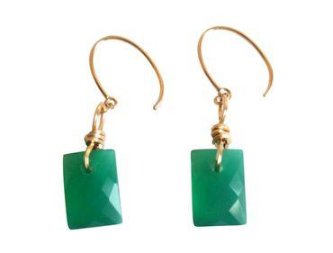 Gemshine - Damen - Ohrringe - Vergoldet - Onyx - Facettiert - Grün - 2 cm