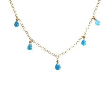 Gemshine - Damen - Halskette - Anhänger - Vergoldet - Topas Quarz - Tropfen - Facettiert - Blau - 45 cm