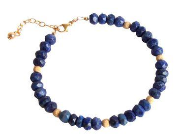 Gemshine - Damen - Armband - Vergoldet - Lapis Lazuli - Facettiert - Blau