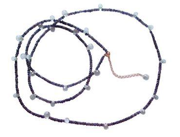Gemshine - Damen - Halskette - Vergoldet - Aquamarin - Iolith - Facettiert - Blau - 135 cm