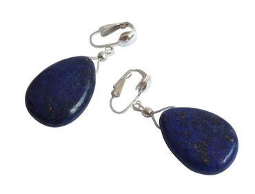 Gemshine - Damen - Ohrringe - Ohrclips - 925 Silber - Lapis Lazuli - Tropfen - Blau - 2 cm
