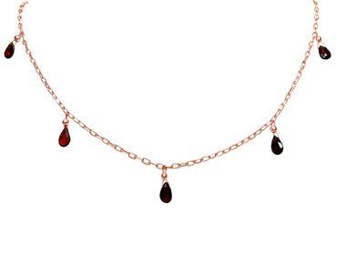 Gemshine - Damen - Halskette - Rose Vergoldet - Granat - Rot - Tropfen - Facettiert - 50 cm - Längenverstellbar