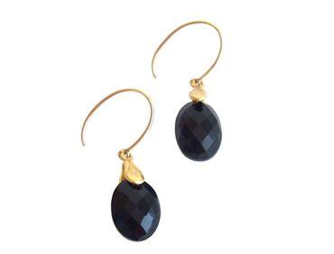 Gemshine - Damen - Ohrringe - Vergoldet - Onyx - Facettiert - Schwarz - 2 cm