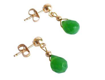 Gemshine - Damen - Ohrringe - Vergoldet - Jade - Facettiert - Tropfen - Grün - 1 cm